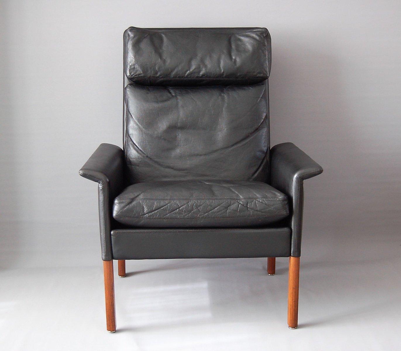 Schwarzer Vintage Ledersessel von Hans Olsen für CS Mobelfabrik