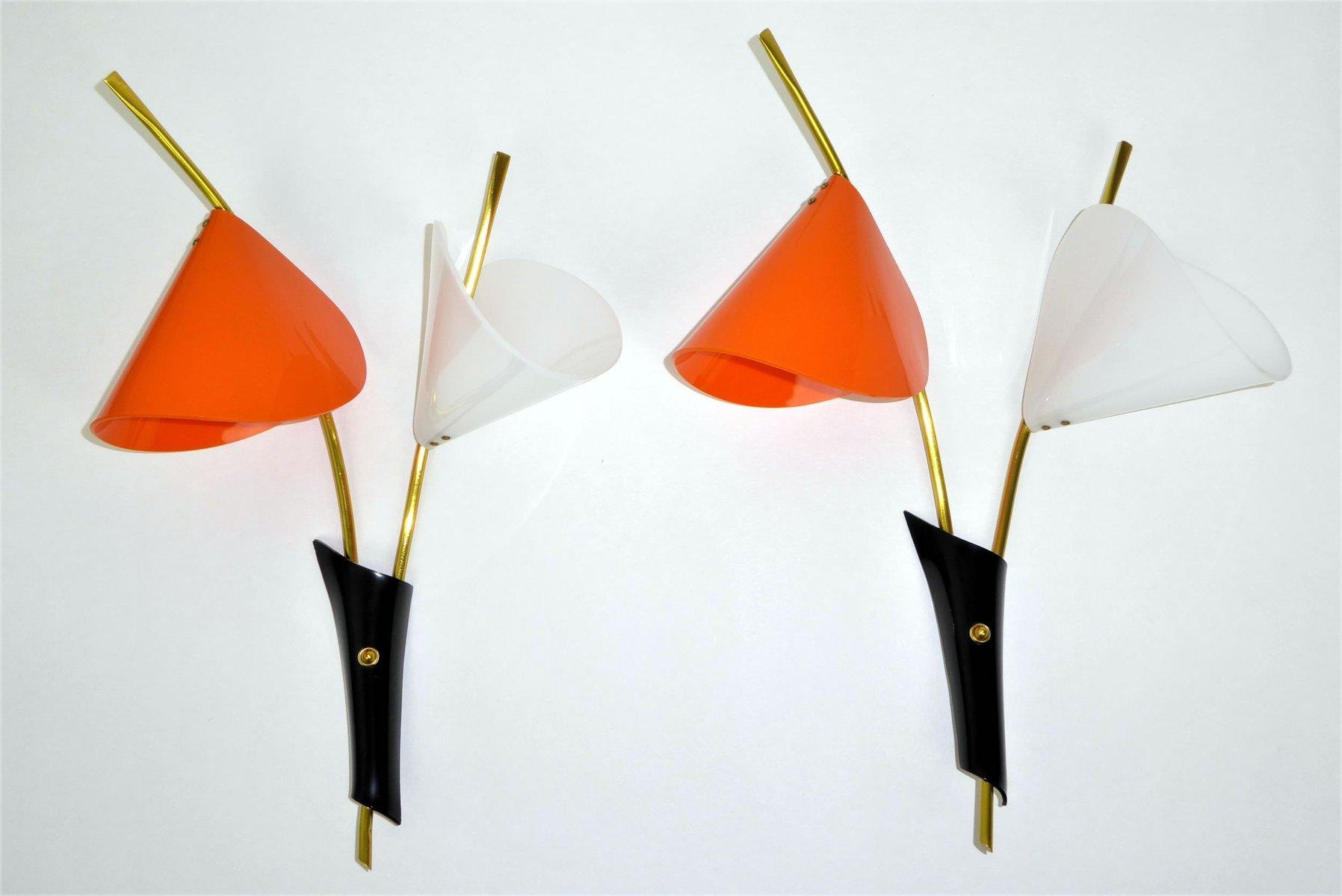Vintage Arum Wandleuchten in Orange & Weiß, 1960er, 2er Set