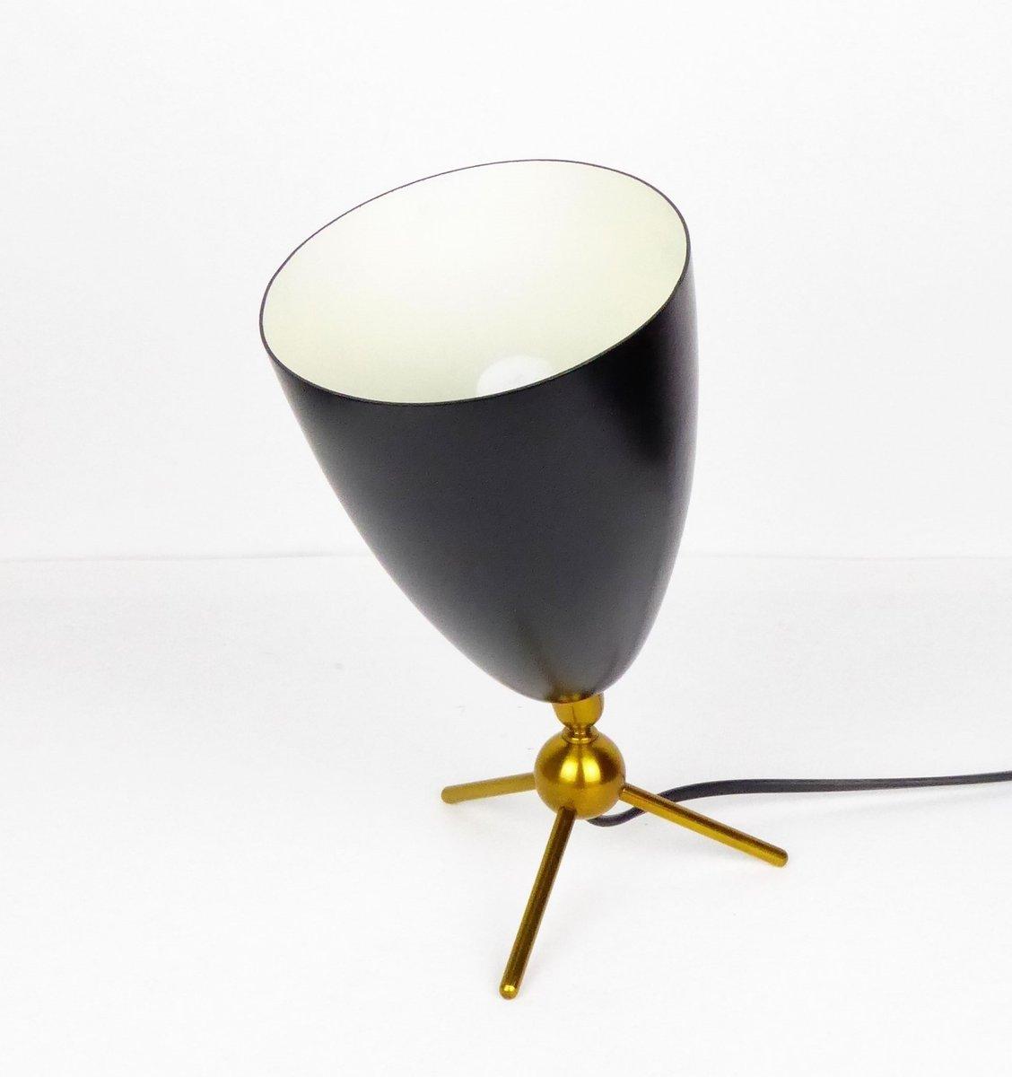 Konische Tischlampe aus Schwarz Lackiertem Metall & Messing, 1950er
