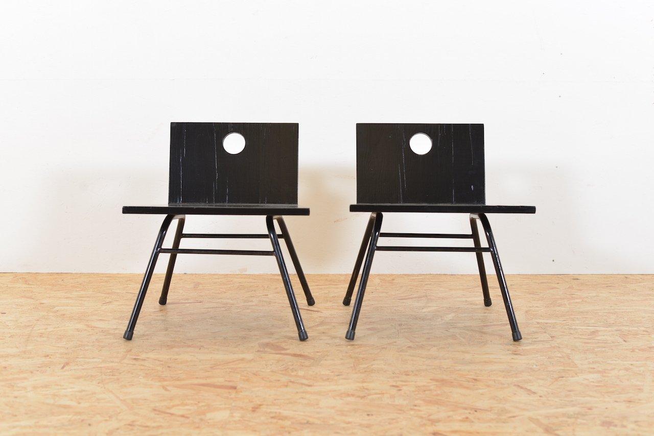 Sedie Vintage Anni 50 : Sedie vintage in legno nero anni 50 set di 2 in vendita su pamono