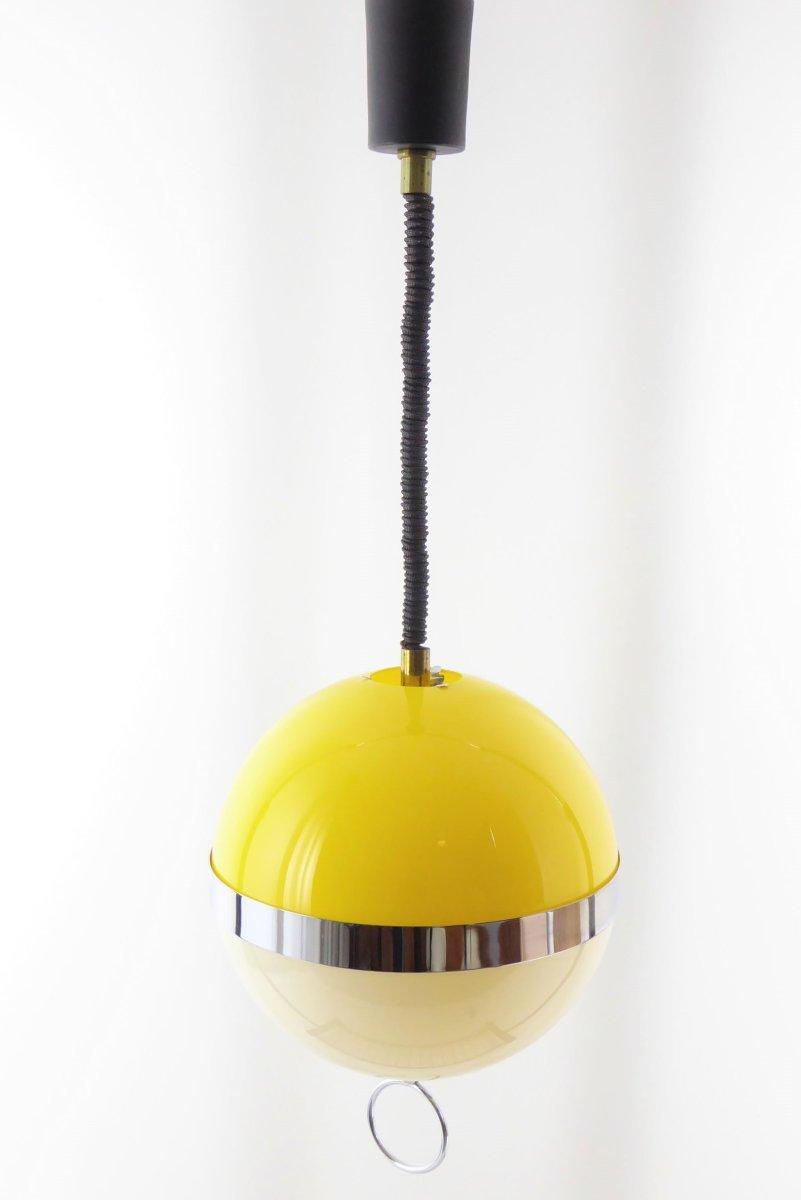 Kugelförmige ABS Lampe in Gelb & Weiß von Disderot, 1960er