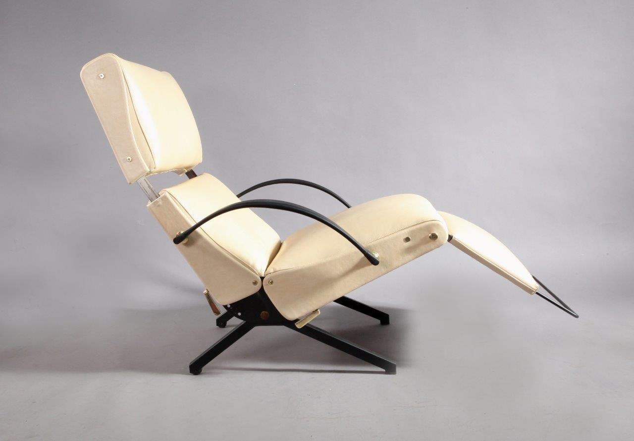 Italienisches Mid-Century P40 Relaxing System Ledersessel von Osvaldo ...