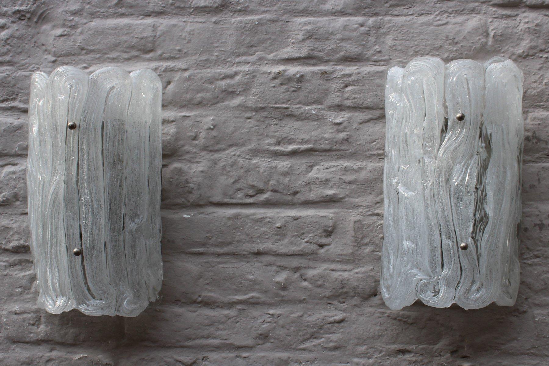 Murano Eisglas Wandlampen von Egon Hillebrand für Hillebrand, 2er Set