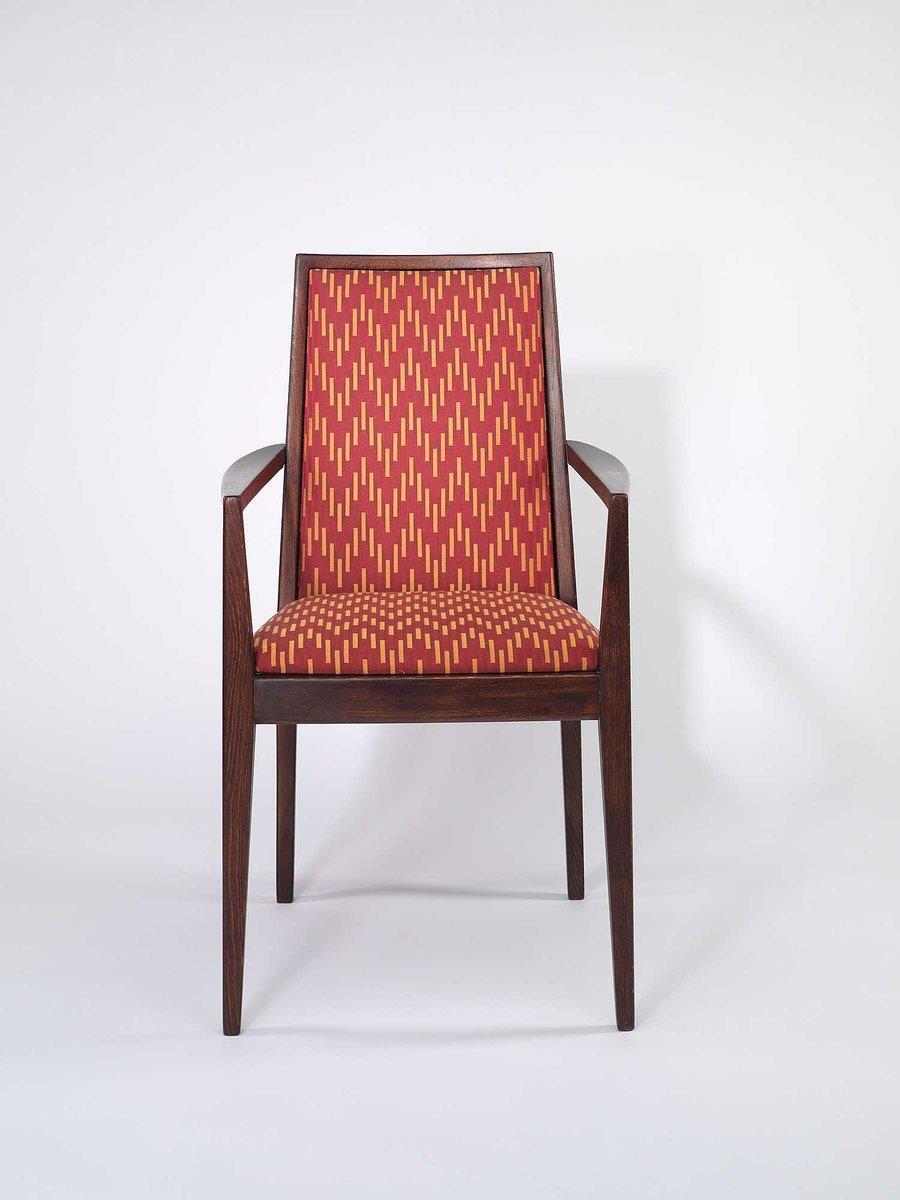 Sessel mit Rotem Stoffbezug von Wiesner-Hager, 1958