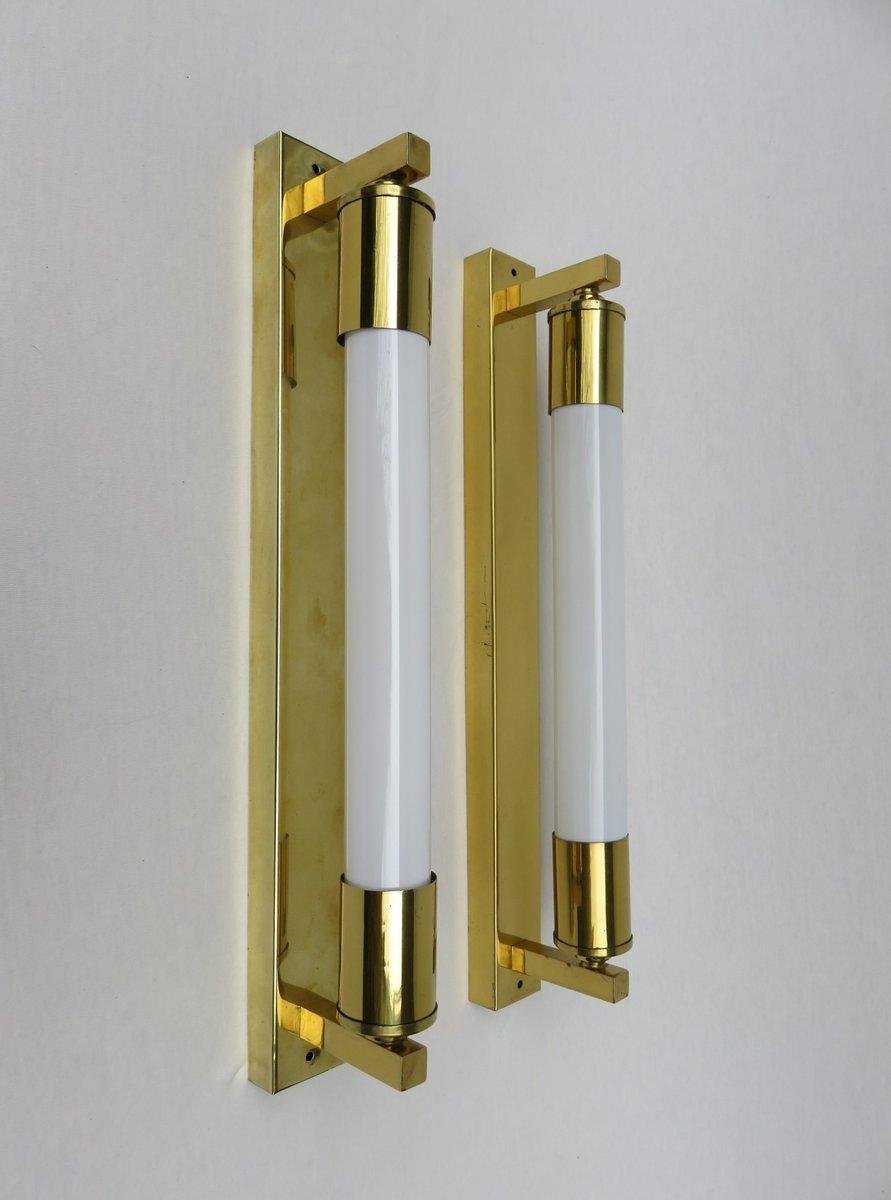 Vintage Art Deco Messing Sofitten Wandlampen, 2er Set