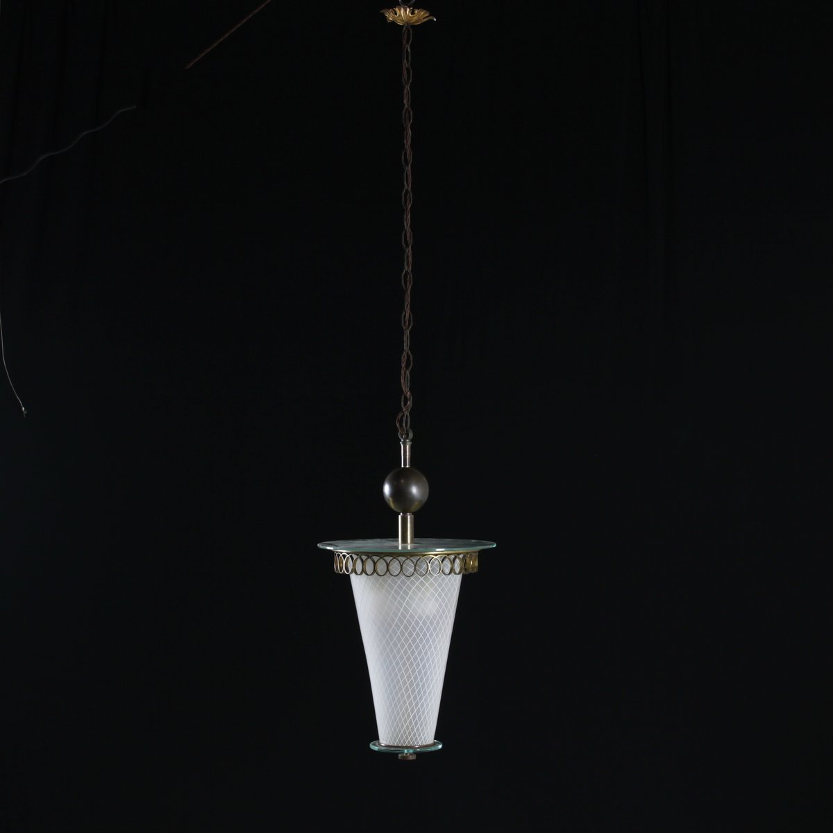 Italienische Vintage Lampe aus Messing & Verziertem Glas, 1950er