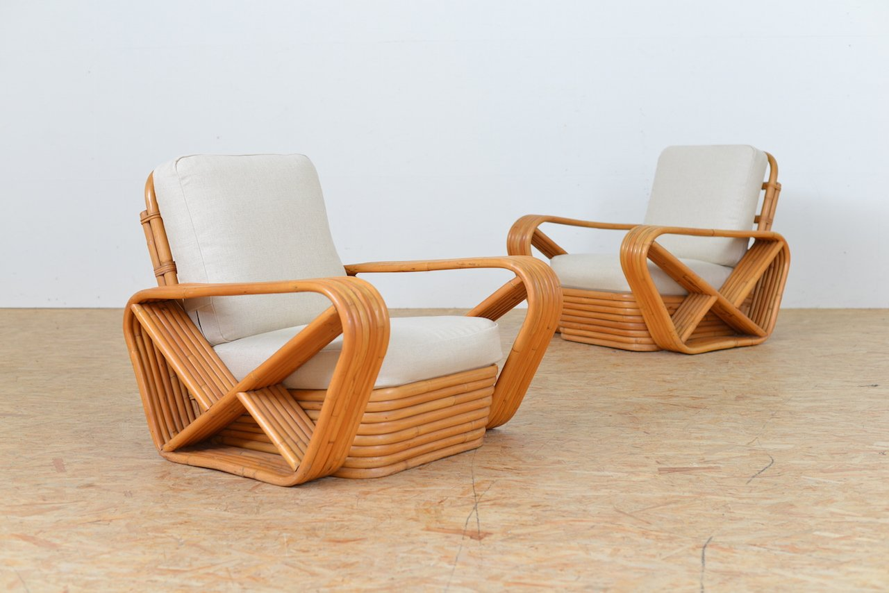 Superbe Vintage Bamboo Lounge Chairs, Set Of 2
