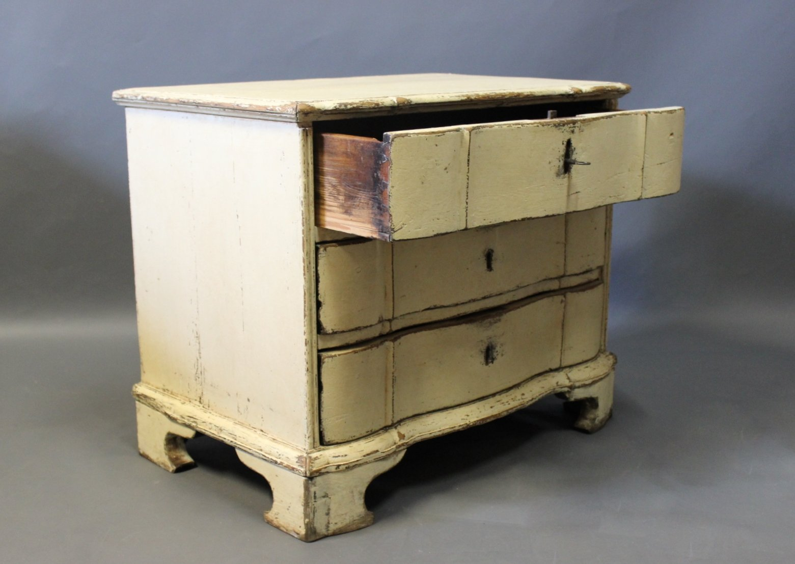 Wooden Chest Of Drawers: Small Danish Baroque Painted Wooden Chest Of Drawers