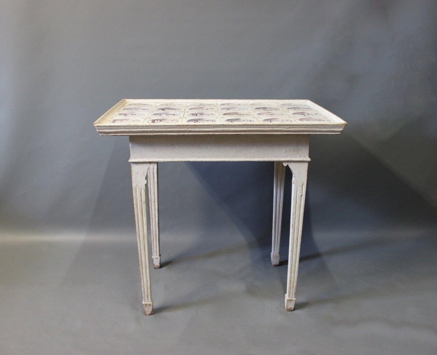 Grau Lackierter Holztisch im Louis XVI Stil mit Niederländischen Flies...