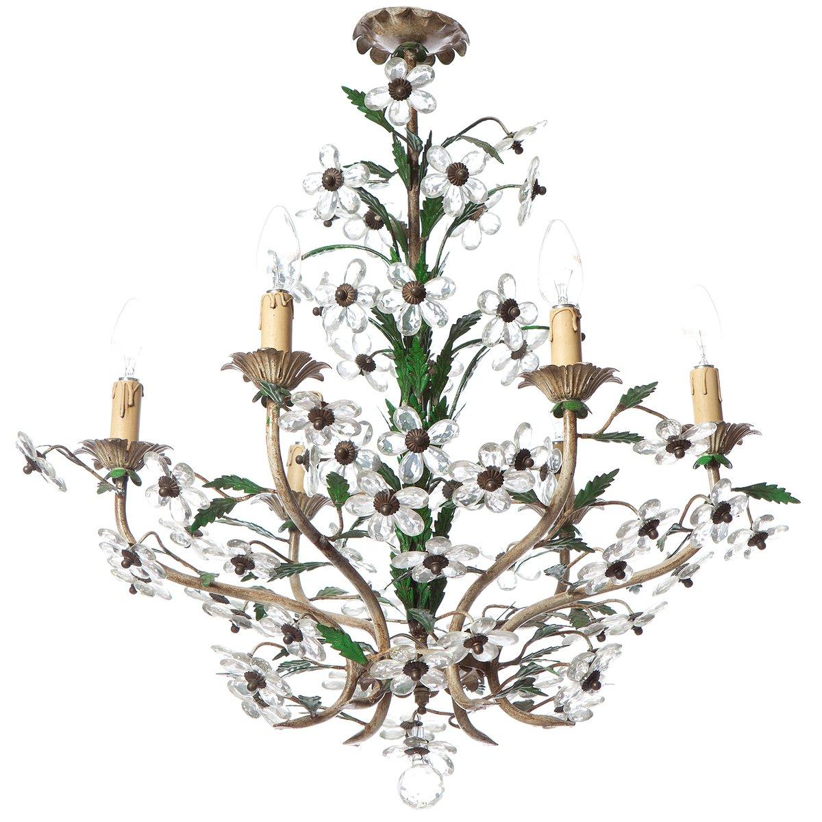 Floraler Mid-Century Kronleuchter aus Kristallglas und Messing mit 6 L...