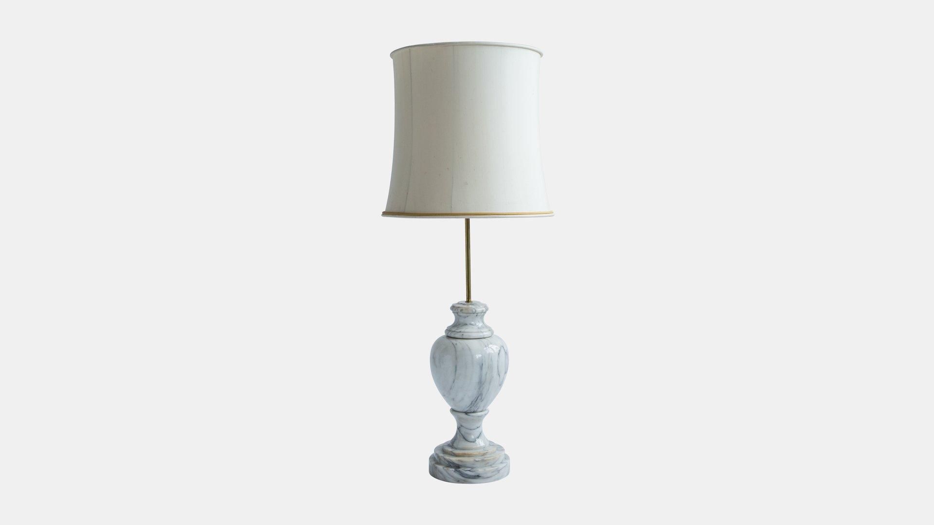 Antike Marmor Lampe mit Seidenschirm