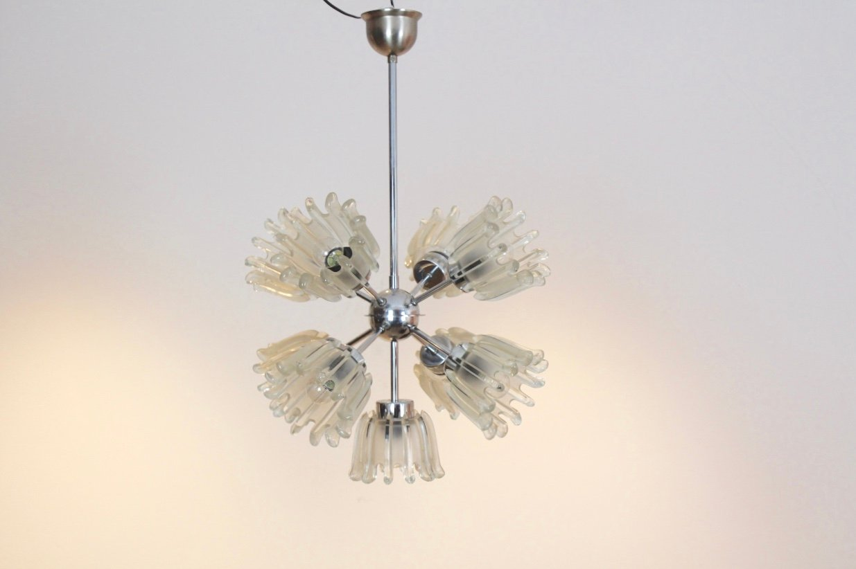 Mid century chrome and frosted tulip glass chandelier by doria for mid century chrome and frosted tulip glass chandelier by doria aloadofball Choice Image