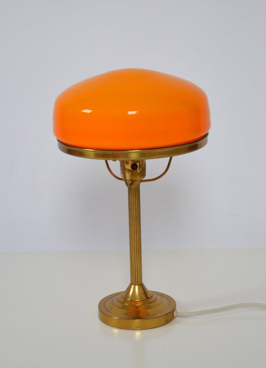 Schwedische Orangefarbene Mid-Century Tischlampe von Karlskrona