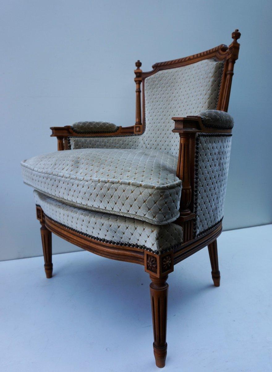 franz sische vintage salon sessel im louis xvi stil mit ottoman bei pamono kaufen. Black Bedroom Furniture Sets. Home Design Ideas