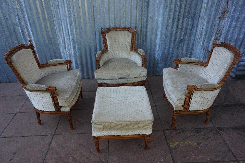 Französische Vintage Salon Sessel im Louis XVI Stil mit Ottoman