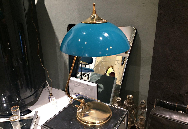 Blaue Italienische Tischlampe, 1950er