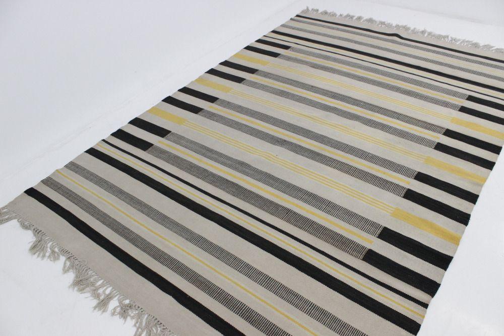 gestreifter tschechischer mid century teppich 1950er bei. Black Bedroom Furniture Sets. Home Design Ideas