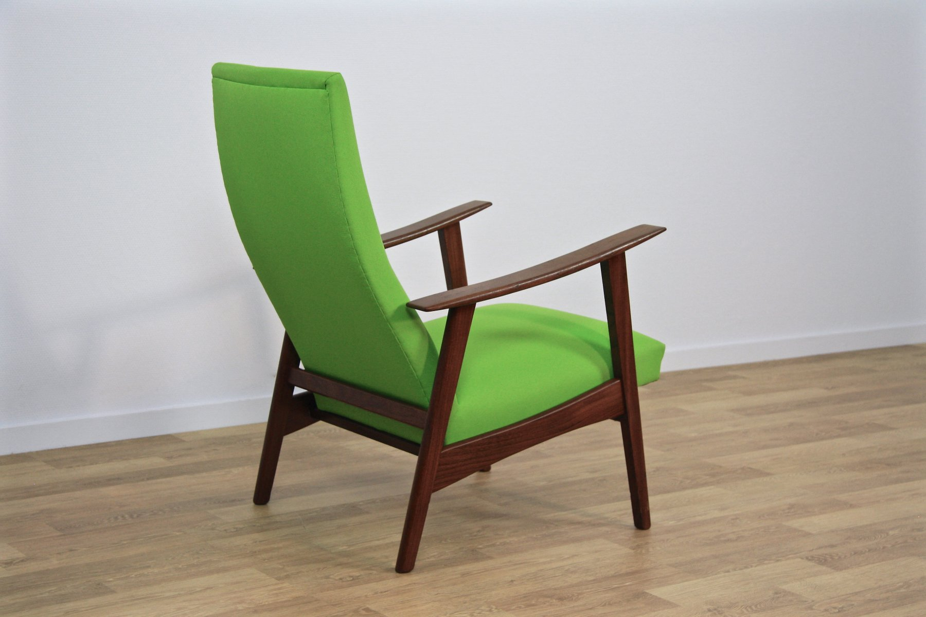 Mid Century Danish Lounge Chair In Teak Amp Green Fabric