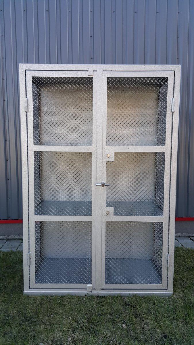 Merveilleux Metal U0026 Mesh Industrial Cabinet, 1950s