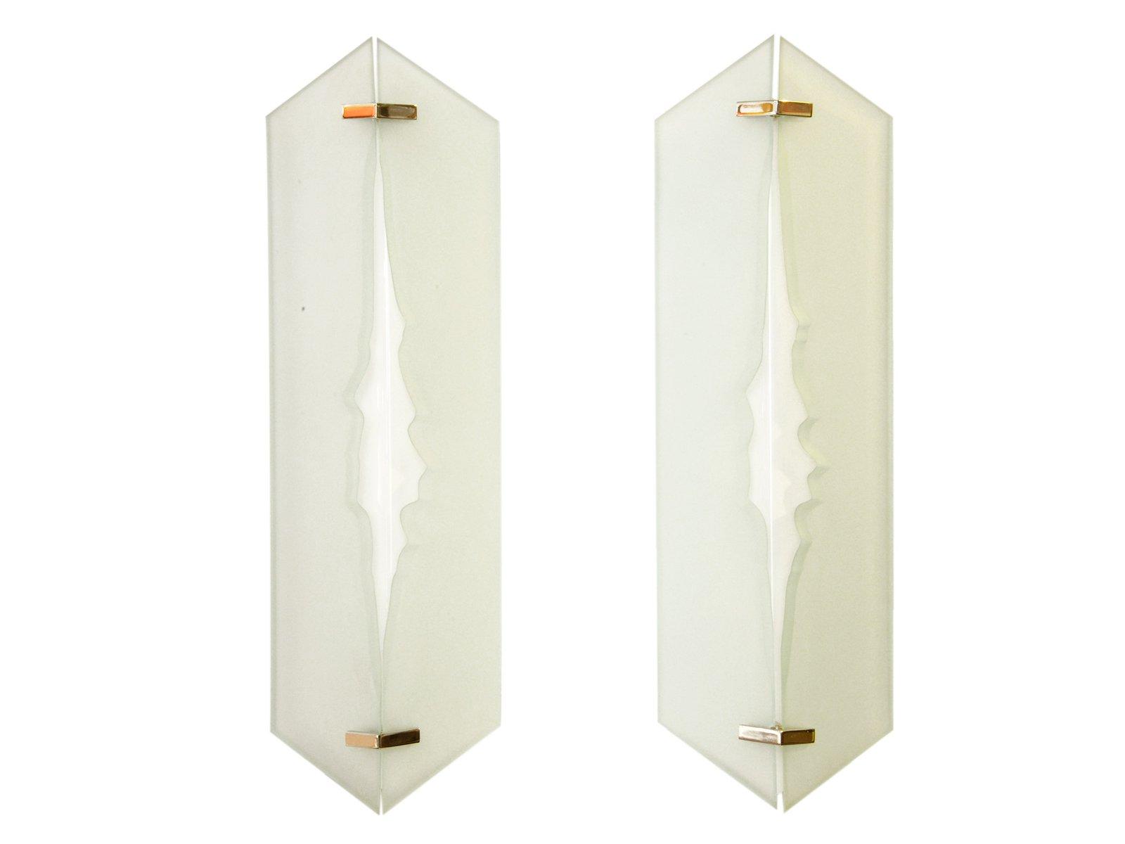 Glas & Messing Wandleuchte von Fontana Arte, 1960er