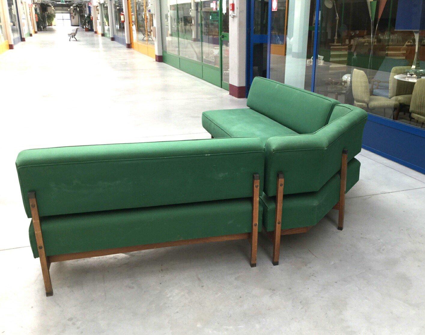 Mid-Century Italian Green Modular Corner Sofa, 1960s