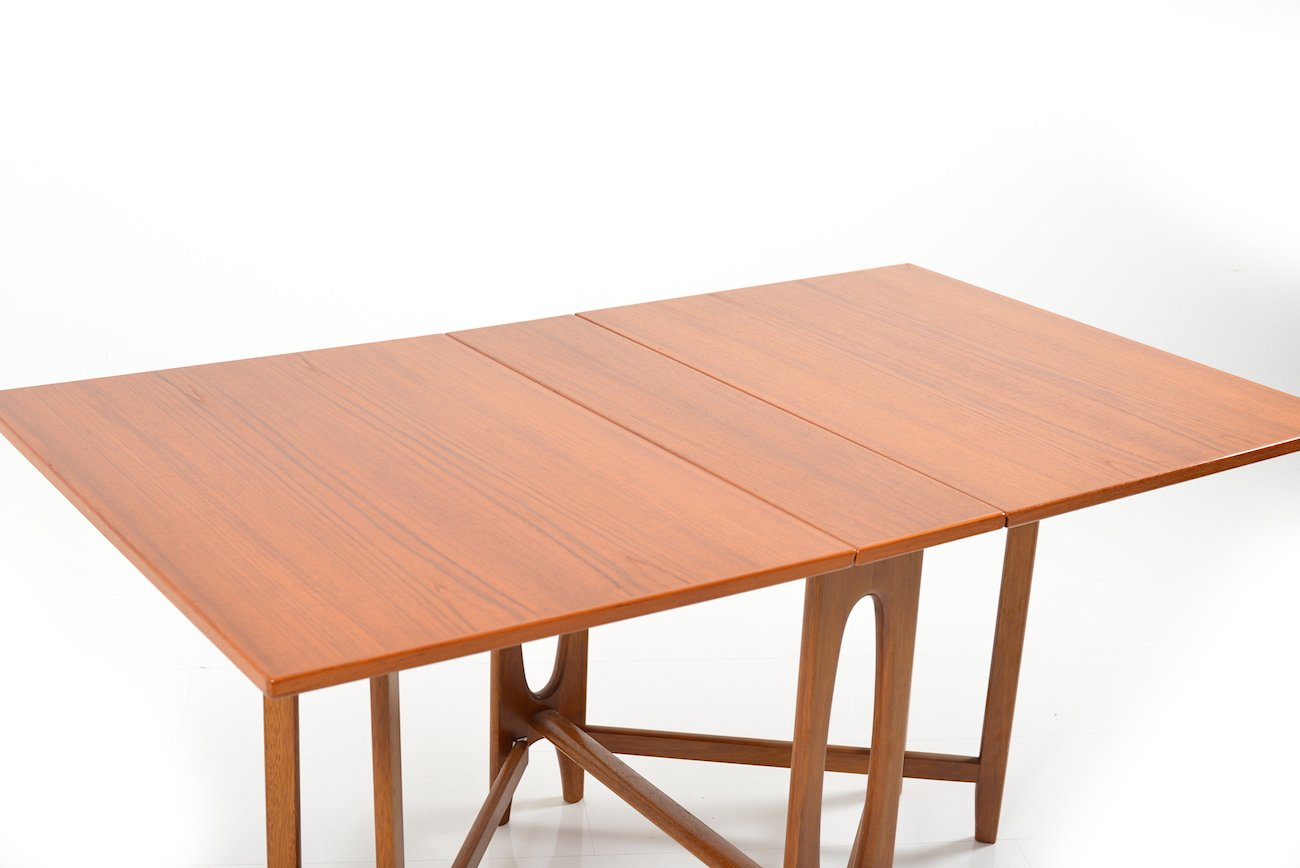 Vintage DropLeaf Teak Dining Table By Bendt Winge For Kleppes - Teak dining table with leaf