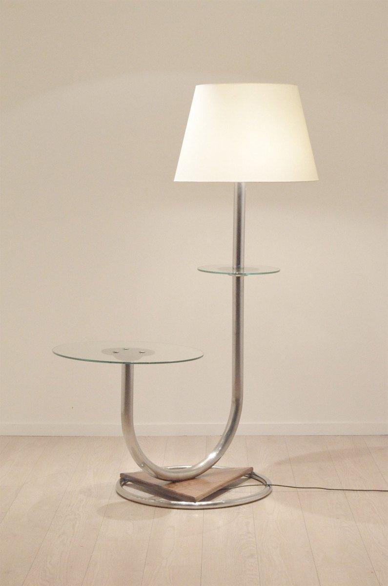 Große Art Deco Chrom & Walnuss Stehlampe mit Beistelltisch