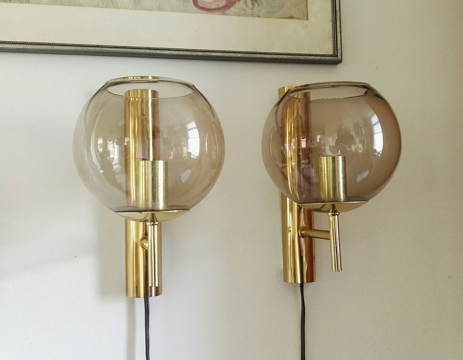 Runde Mid-Century Glas Wandlampen von Hans Agne Jakobsson für Luxus, 1...