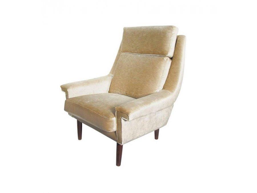 Danischer Beiger Mid Century Sessel Aus Samt 1950er Bei Pamono Kaufen