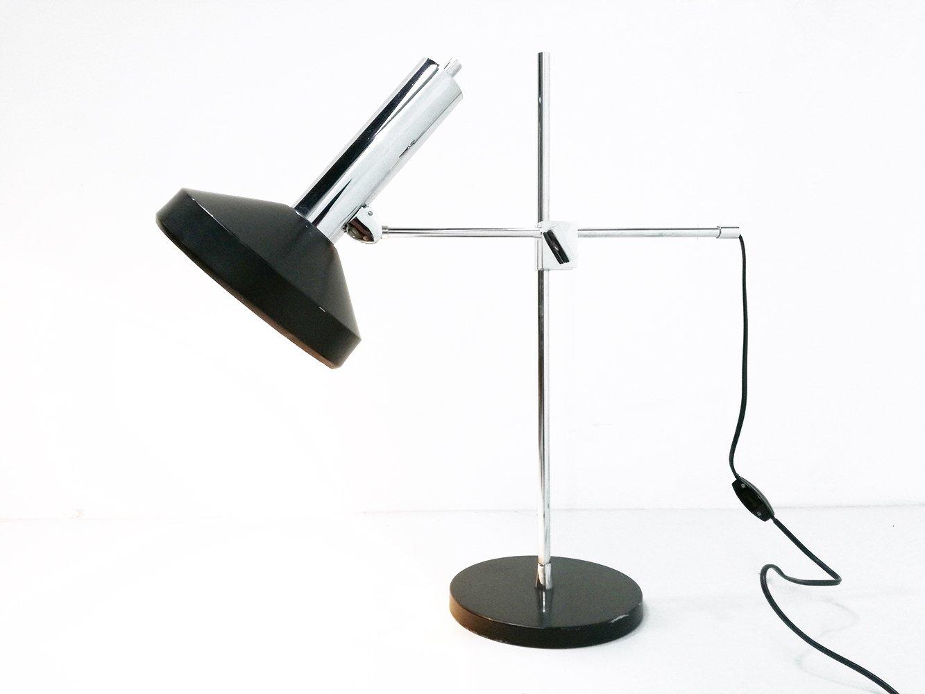Lampe de bureau en chrome acier laqué noir s en vente sur