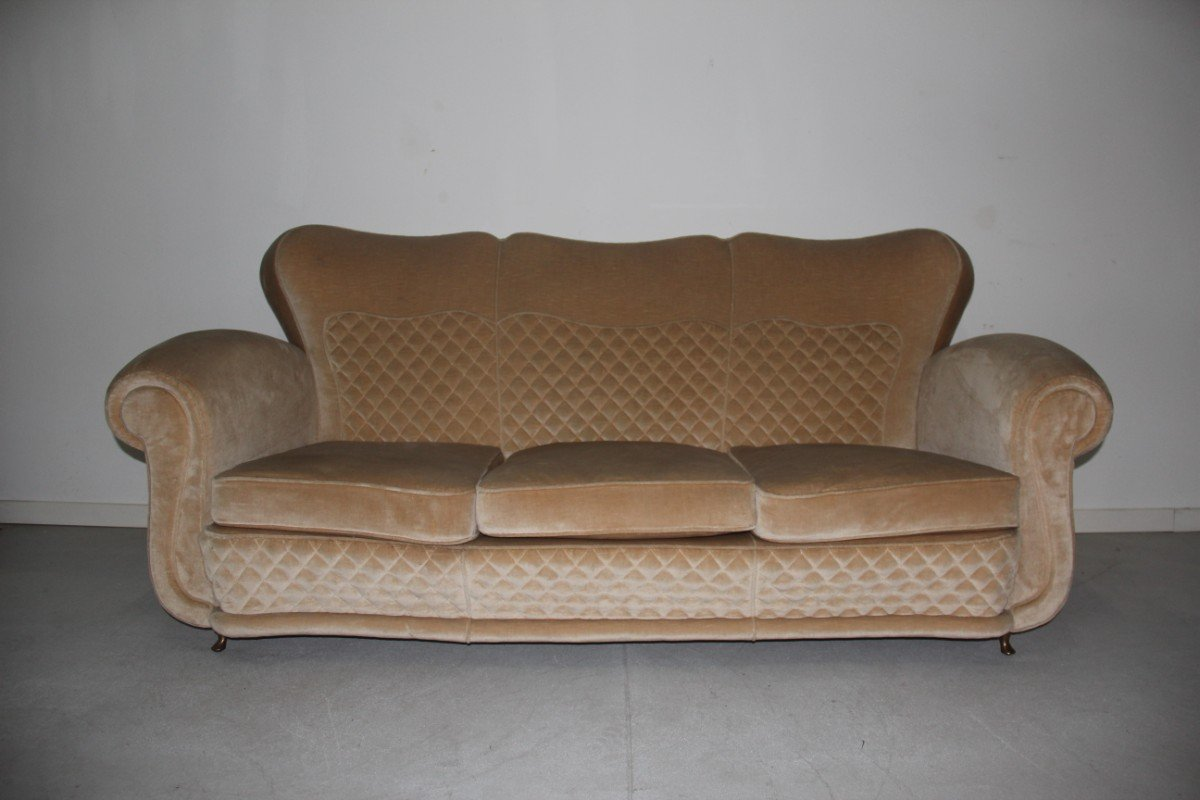 Beige Velvet Sofa With Duck S Beak Feet 1940s