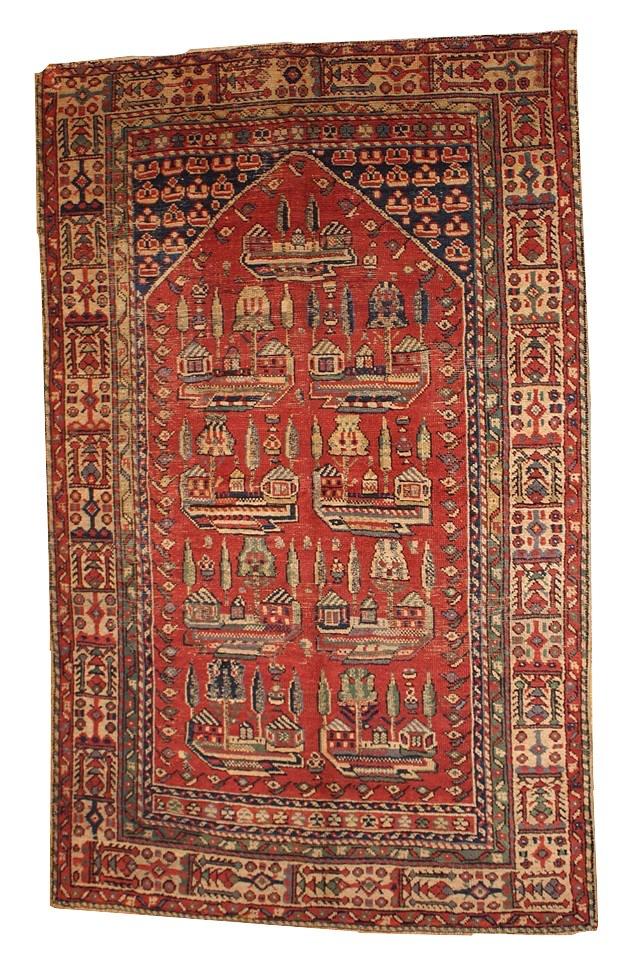 Handgeknüpfter Antiker Türkischer Gebetsteppich, 1890er | Heimtextilien > Teppiche > Sonstige-Teppiche | Rot | Wolle