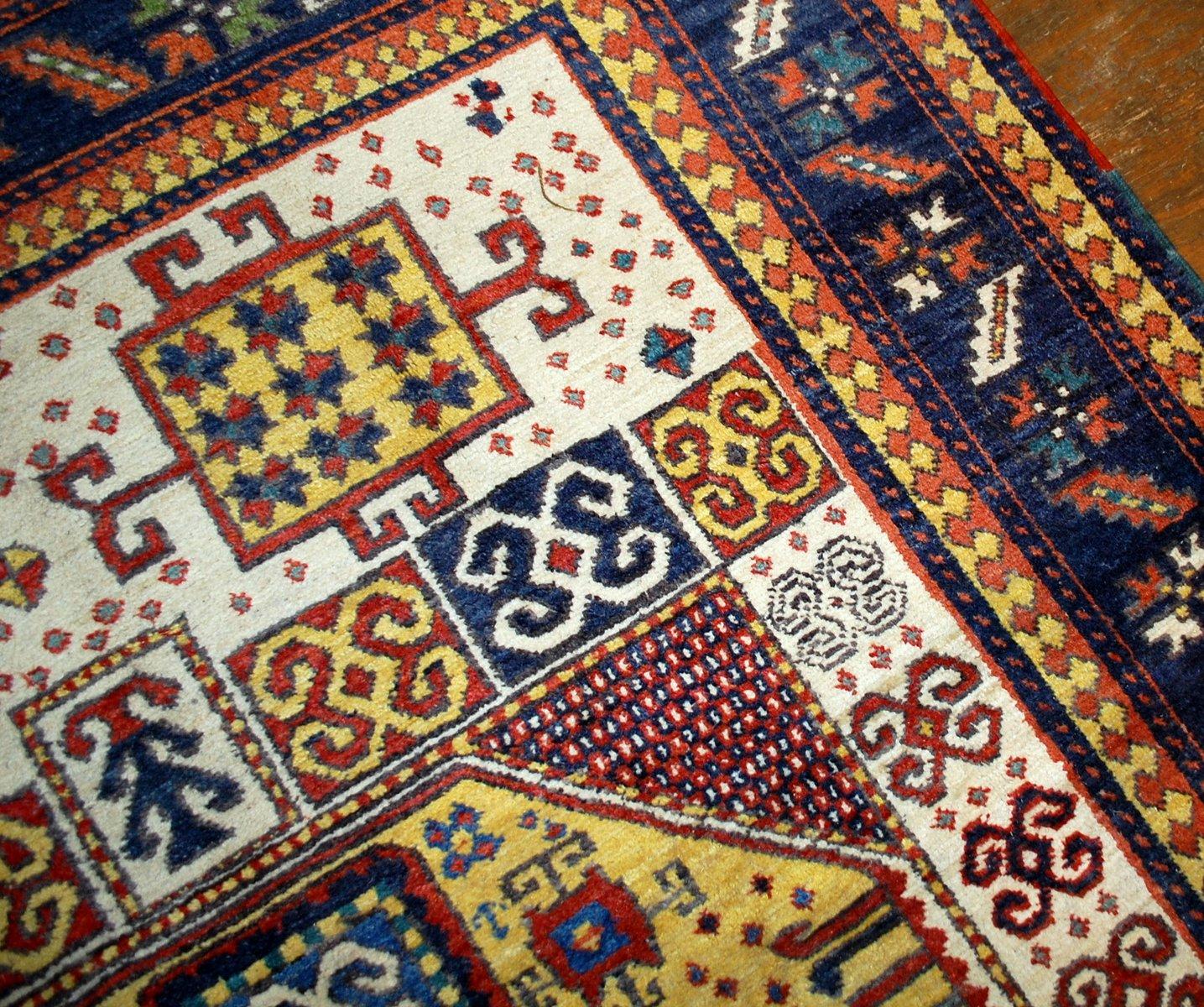 Antique Caucasian Handmade Kazak Karachov Rug, 1940s For