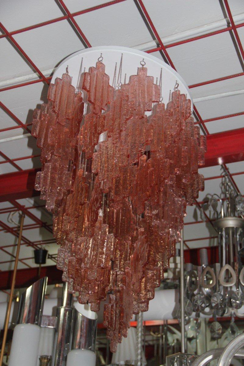 Rosa Murano Glas Kronleuchter von Mazzega, 1970er