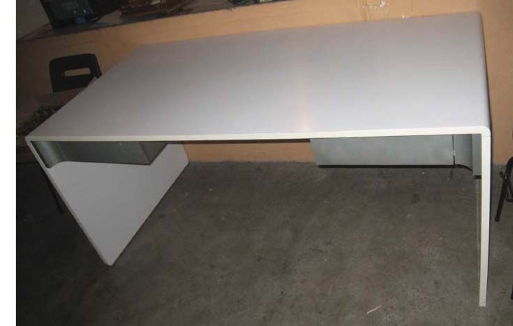 Vintage White Laminate & Brushed Steel Desk For Sale At Pamono