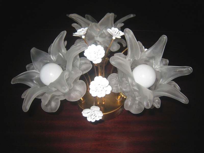 Vintage Glas & Messing Blumen Wandlampen, 2er Set