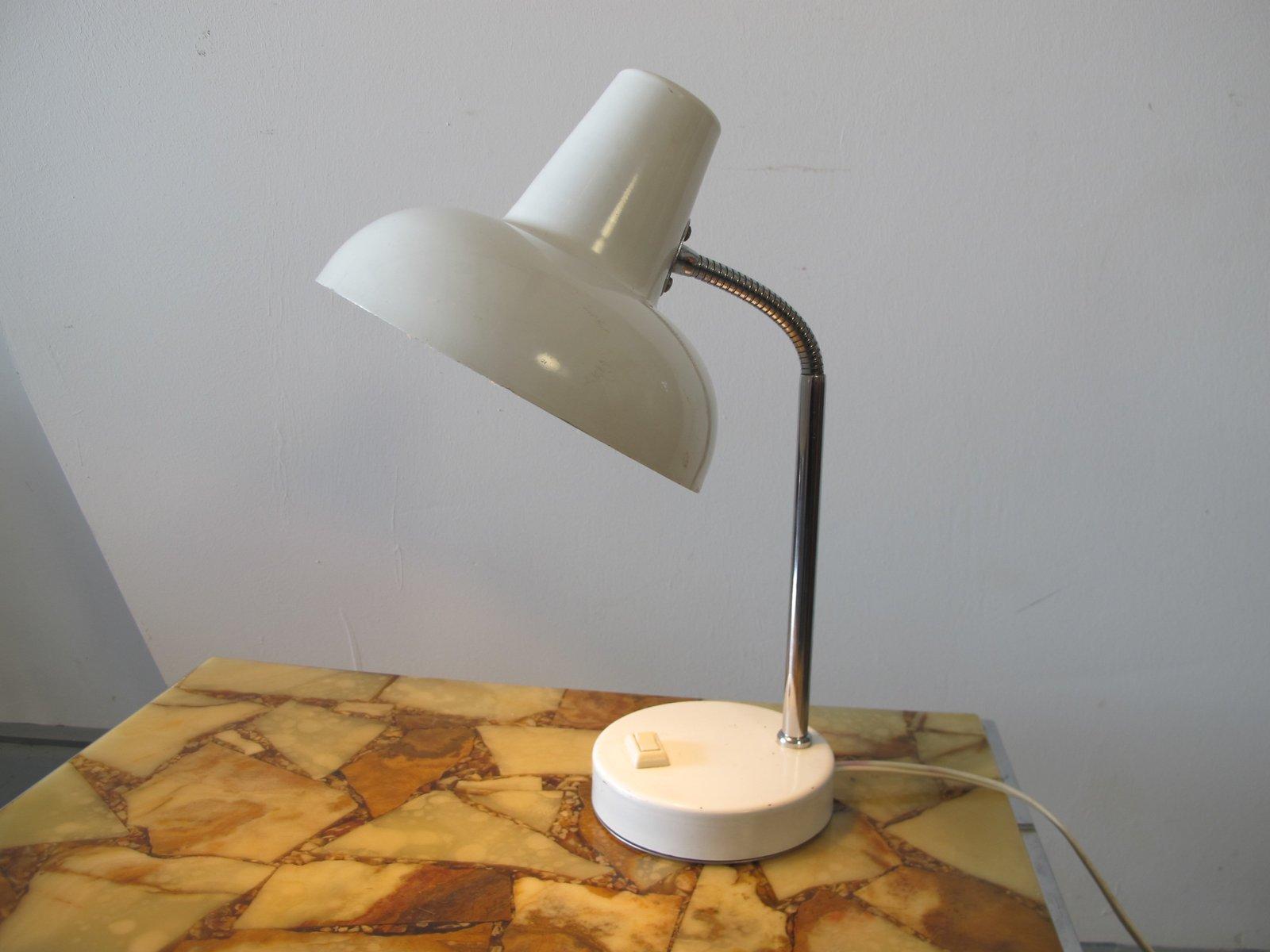 Schreibtischlampe aus Weißem Metall, 1950er