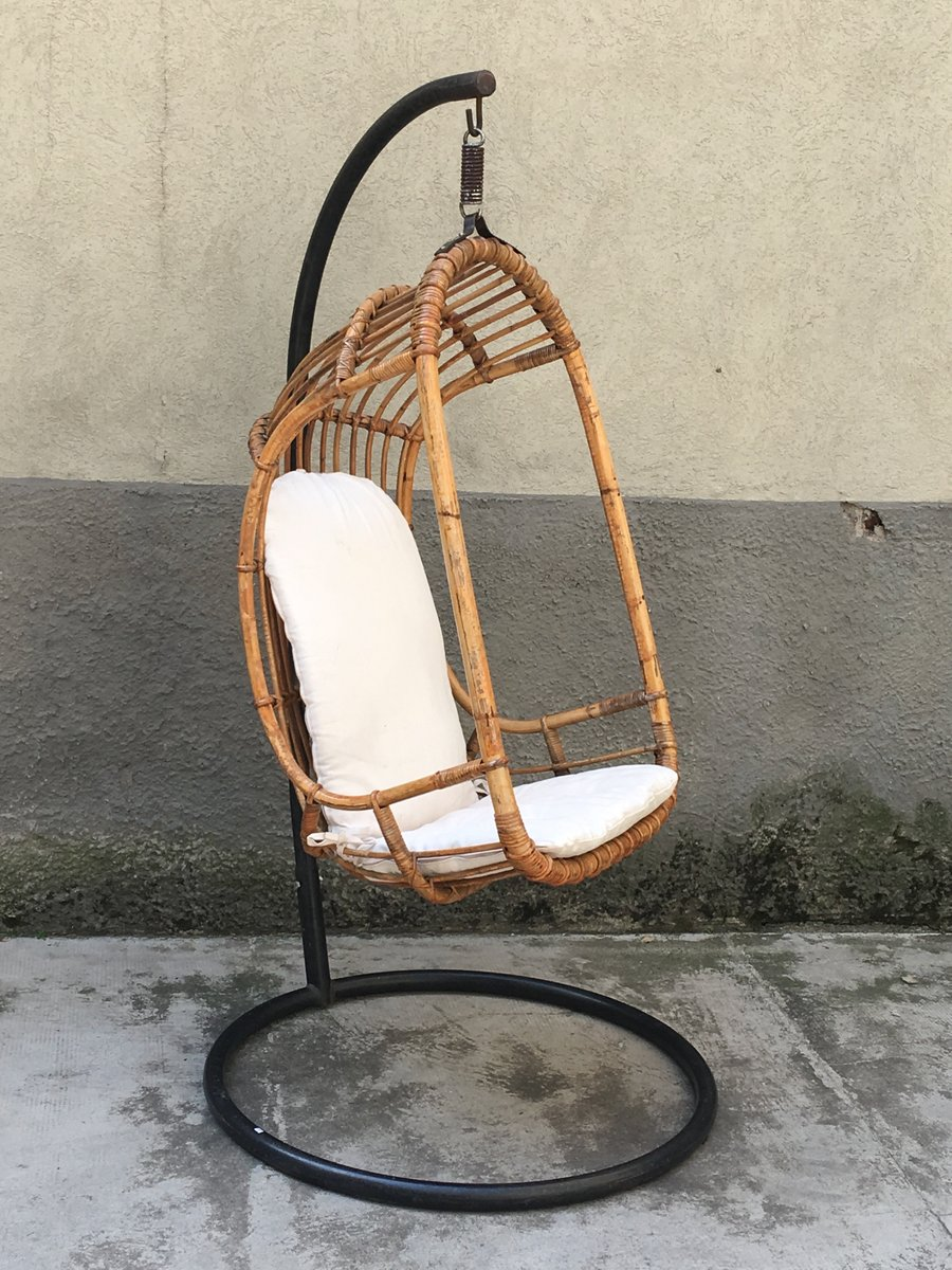 Gentil Mid Century Italian Rattan And Bamboo Hanging Chair, 1950s