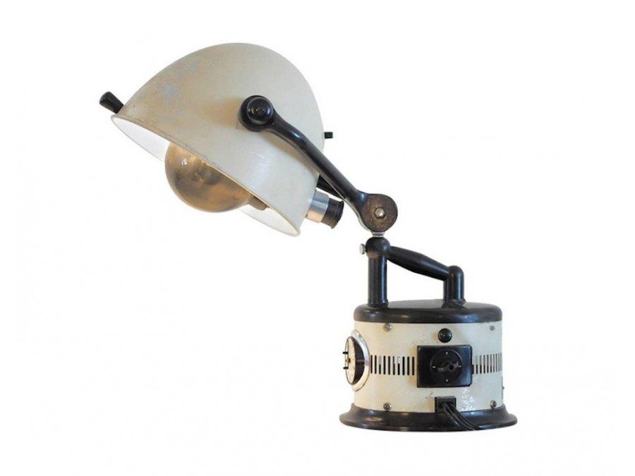 Weiße Verstellbare Tischlampe, 1940er