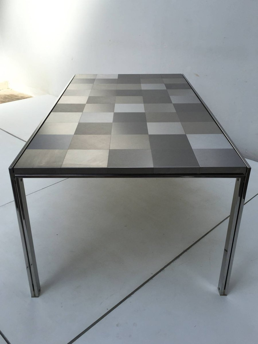 table de salle manger mod le luar op art en acier inoxydable par ross littell pour icf 1972. Black Bedroom Furniture Sets. Home Design Ideas