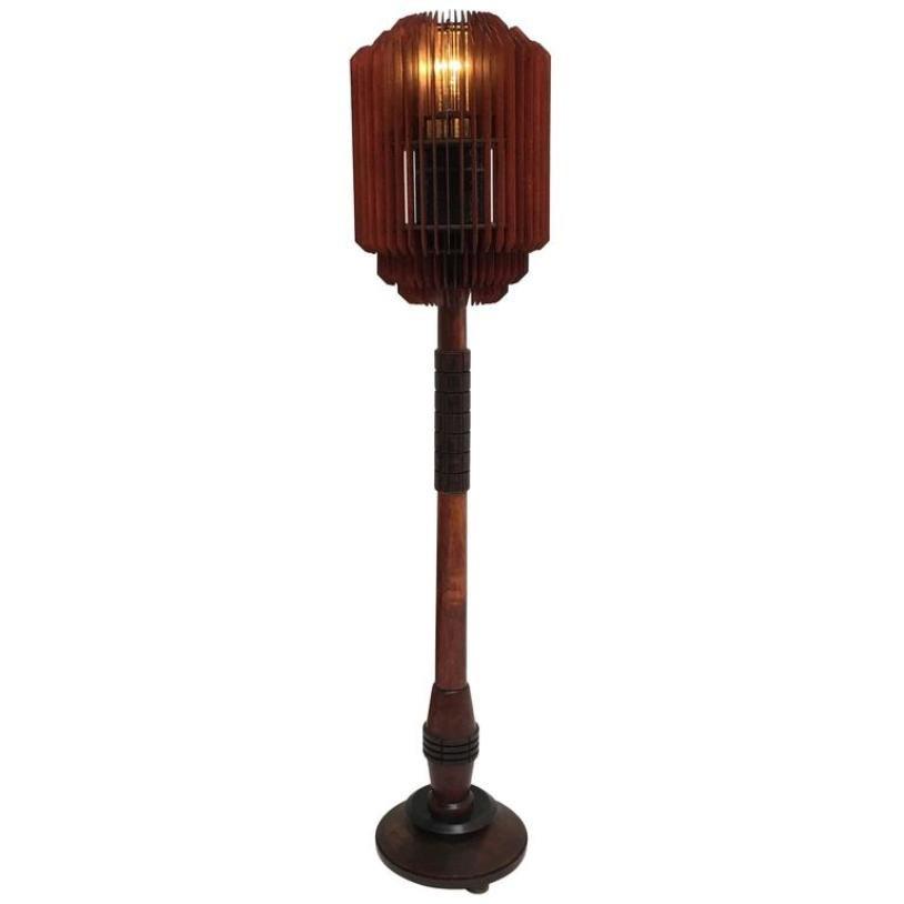 Art Deco Stehlampe mit Holzlamellen, 1930er