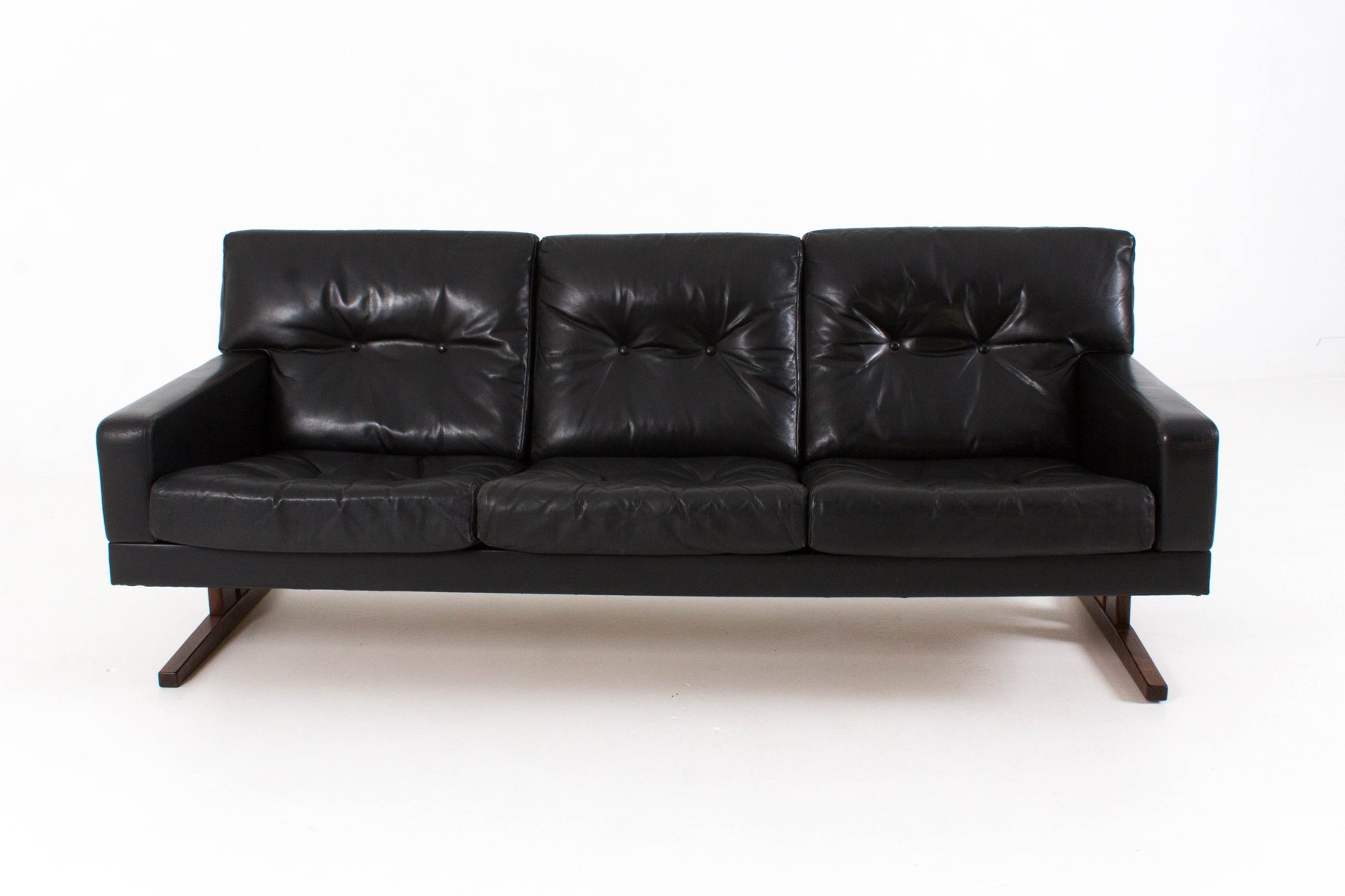 Danish Three Seater Leather Sofa 1960s