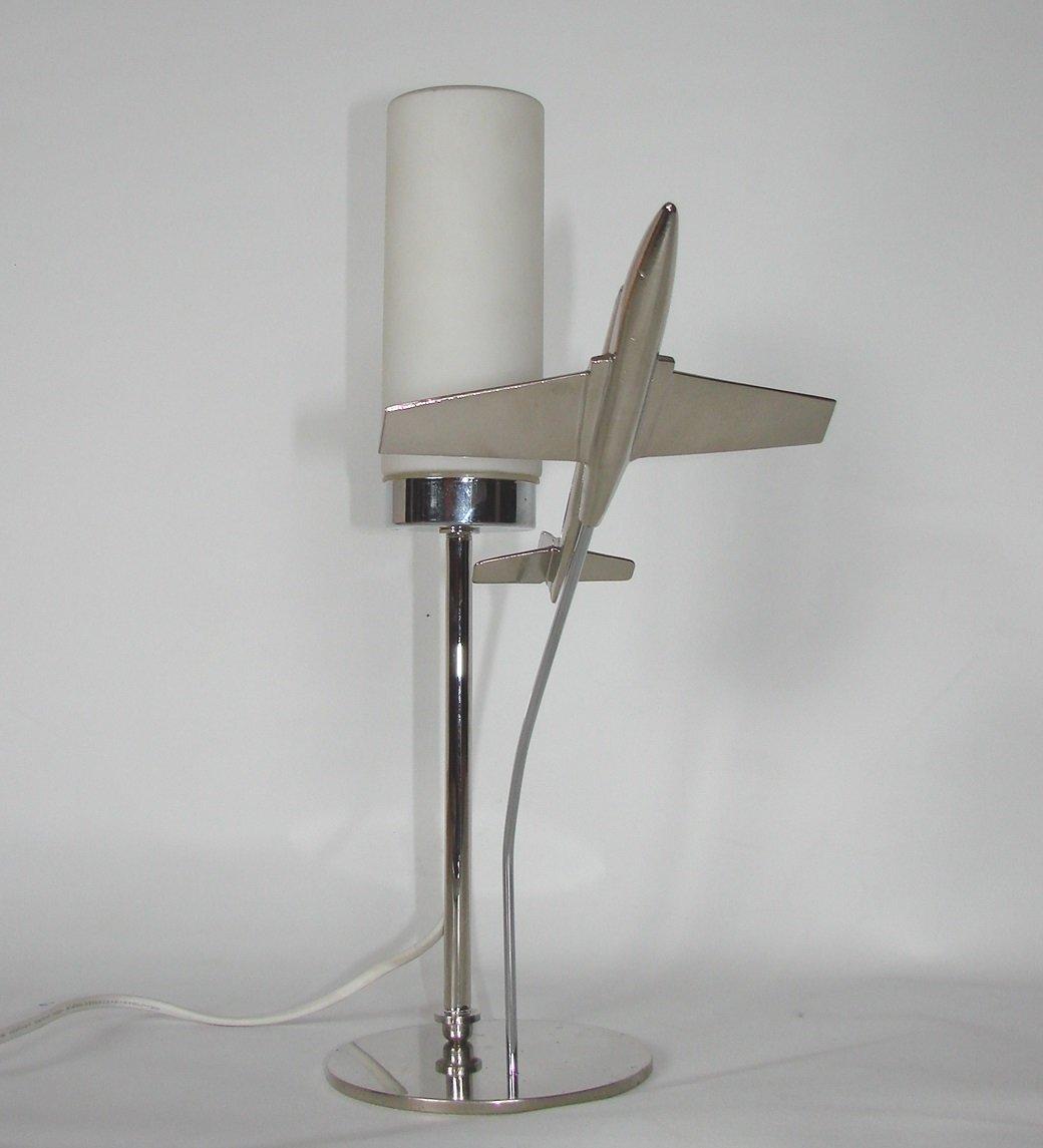 lampe de bureau mid century en laiton avec avion 1950s en vente sur pamono. Black Bedroom Furniture Sets. Home Design Ideas
