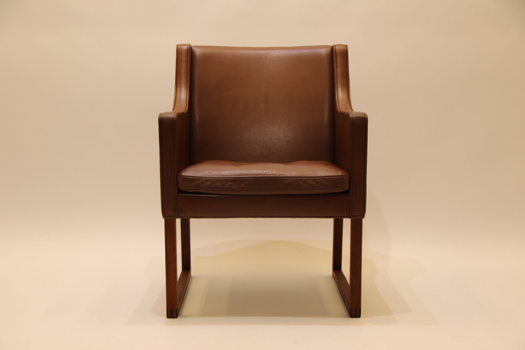 Mid Century Danish Leather Armchair By Børge Mogensen For Fredericia