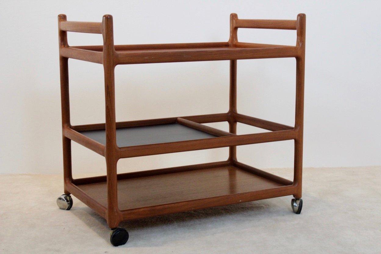 mid century teak bar cart by johannes andersen for cfc. Black Bedroom Furniture Sets. Home Design Ideas