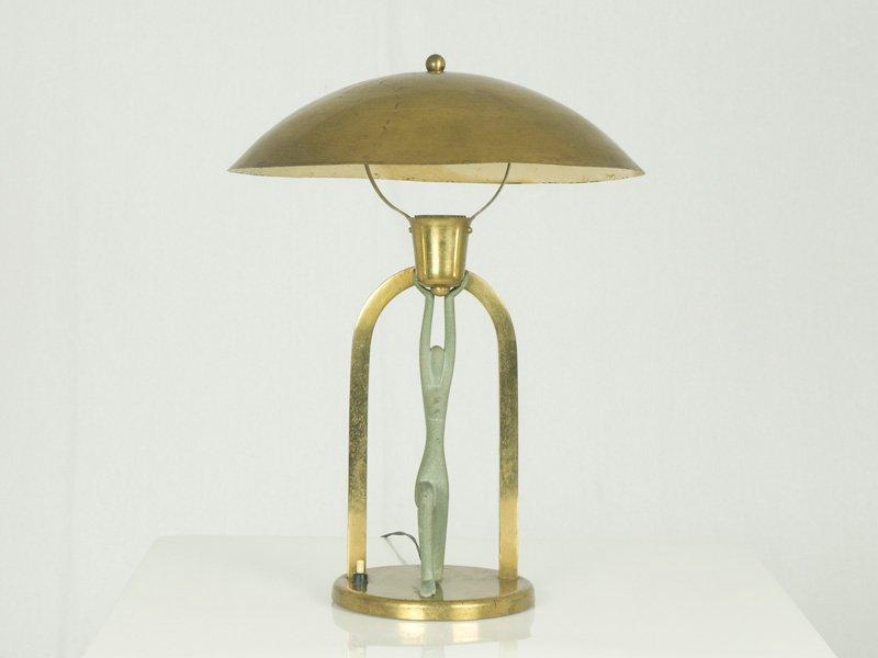 Vintage Art Deco Tischlampe mit Figur