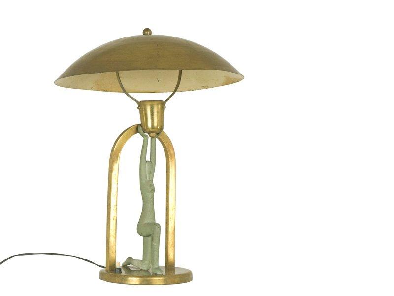 vintage art deco tischlampe mit figur bei pamono kaufen. Black Bedroom Furniture Sets. Home Design Ideas