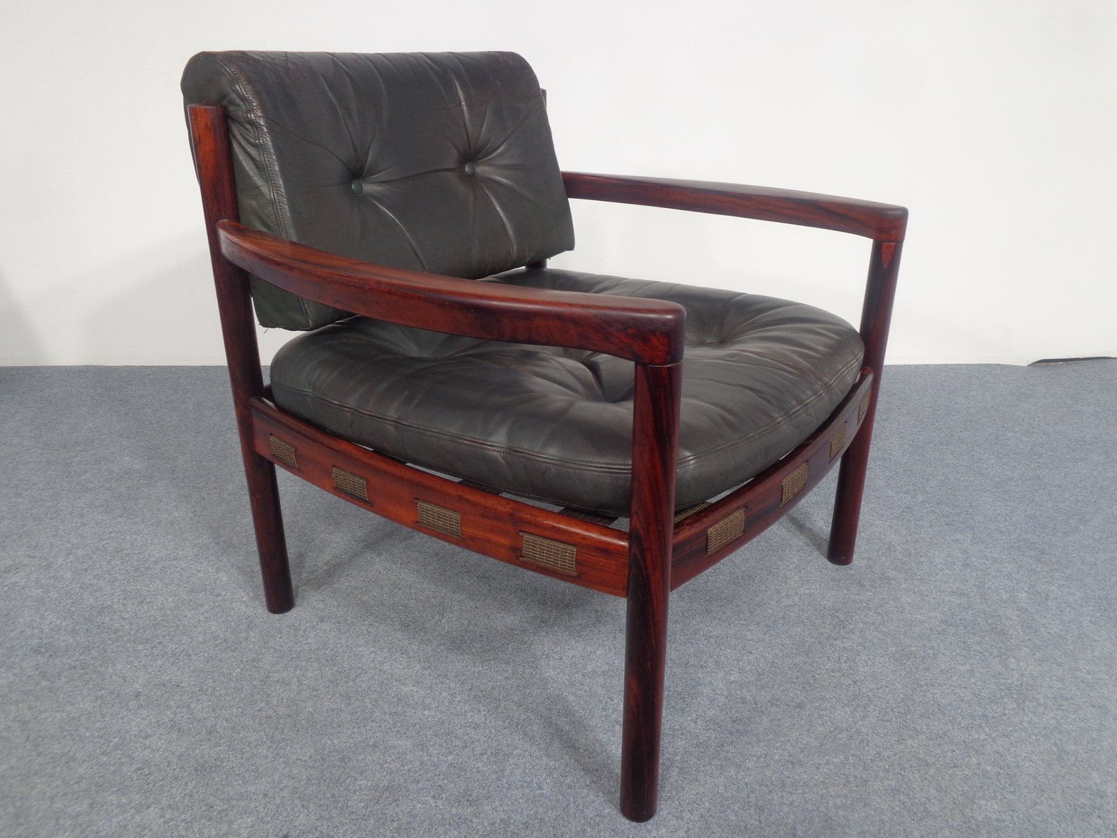 Mid Century Swedish Rosewood And Black Leather Armchair By Arne Norell,  1960s
