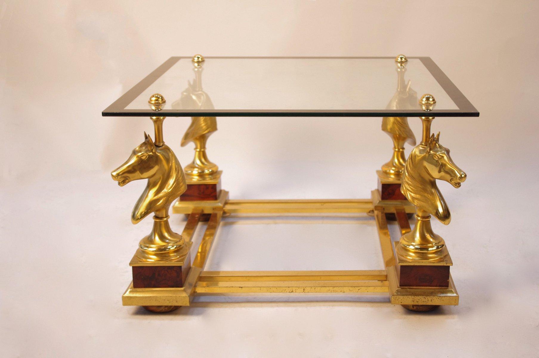 Vintage Couchtisch aus Vergoldetem Metall & Glas mit 4 Pferdebüsten, 1...