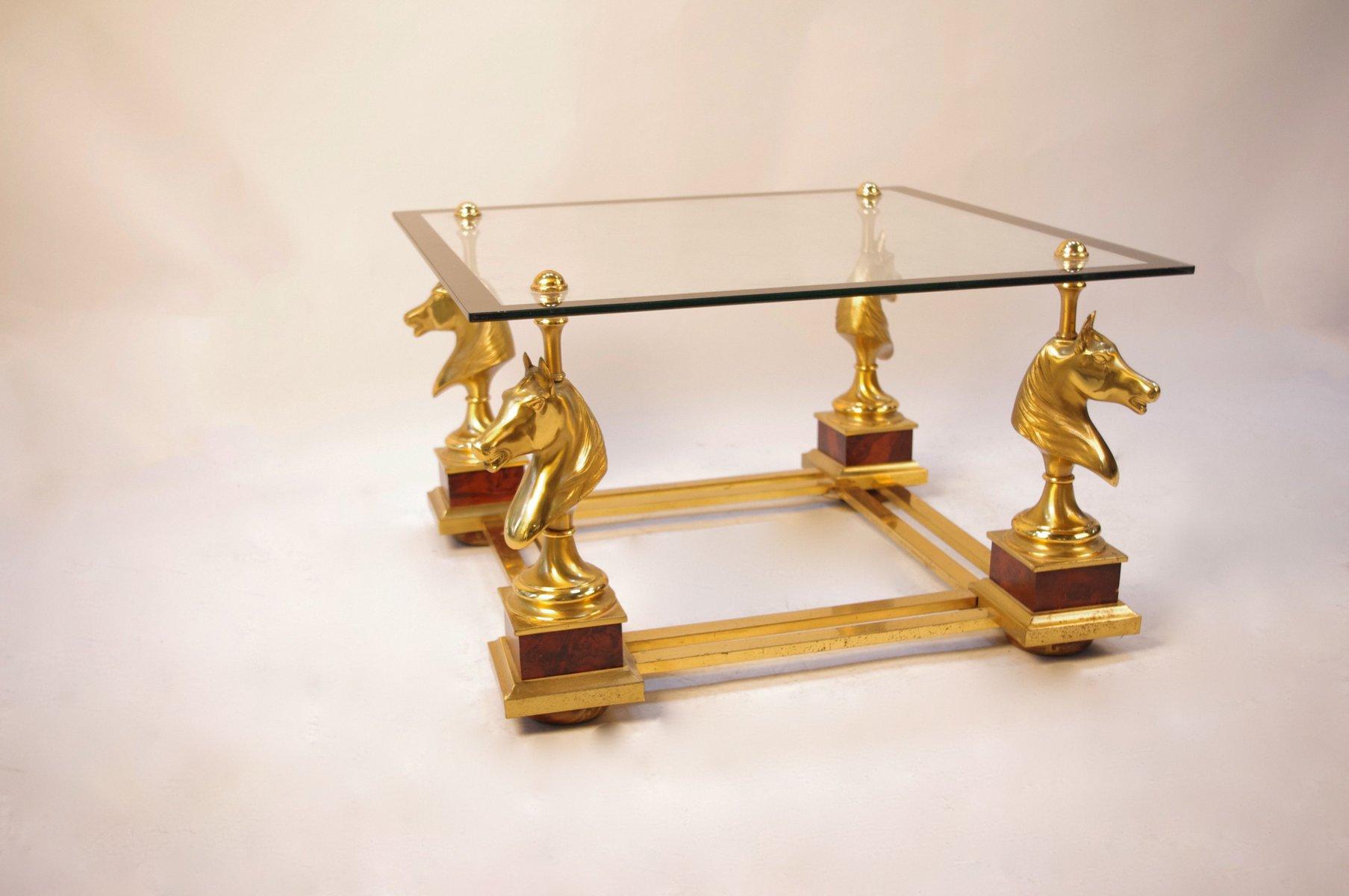 table basse vintage en m tal dor et verre avec 4 bustes de cheval 1960s en vente sur pamono. Black Bedroom Furniture Sets. Home Design Ideas